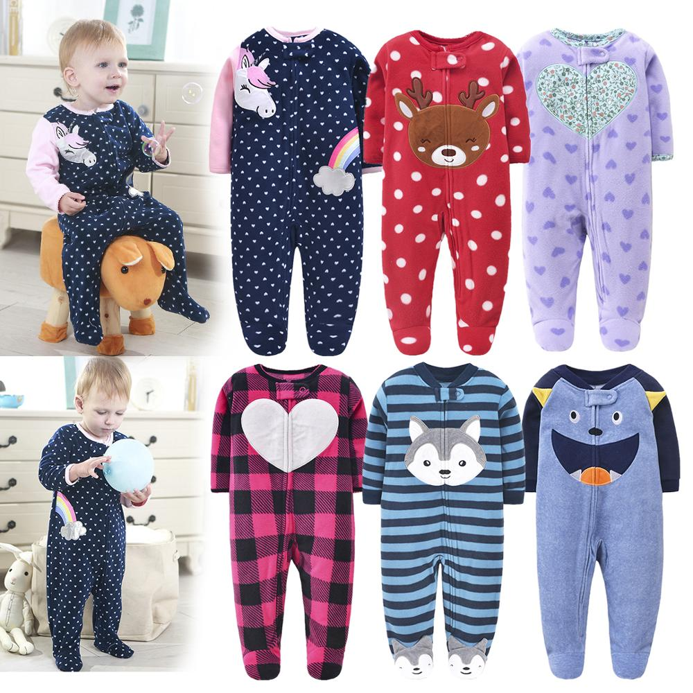 New 2020 Autumn Spring Baby Rompers Clothes Long Sleeves Newborn Boy Girls Polar Fleece Baby Jumpsuit Baby Clothing 9-24m | Happy Baby Mama
