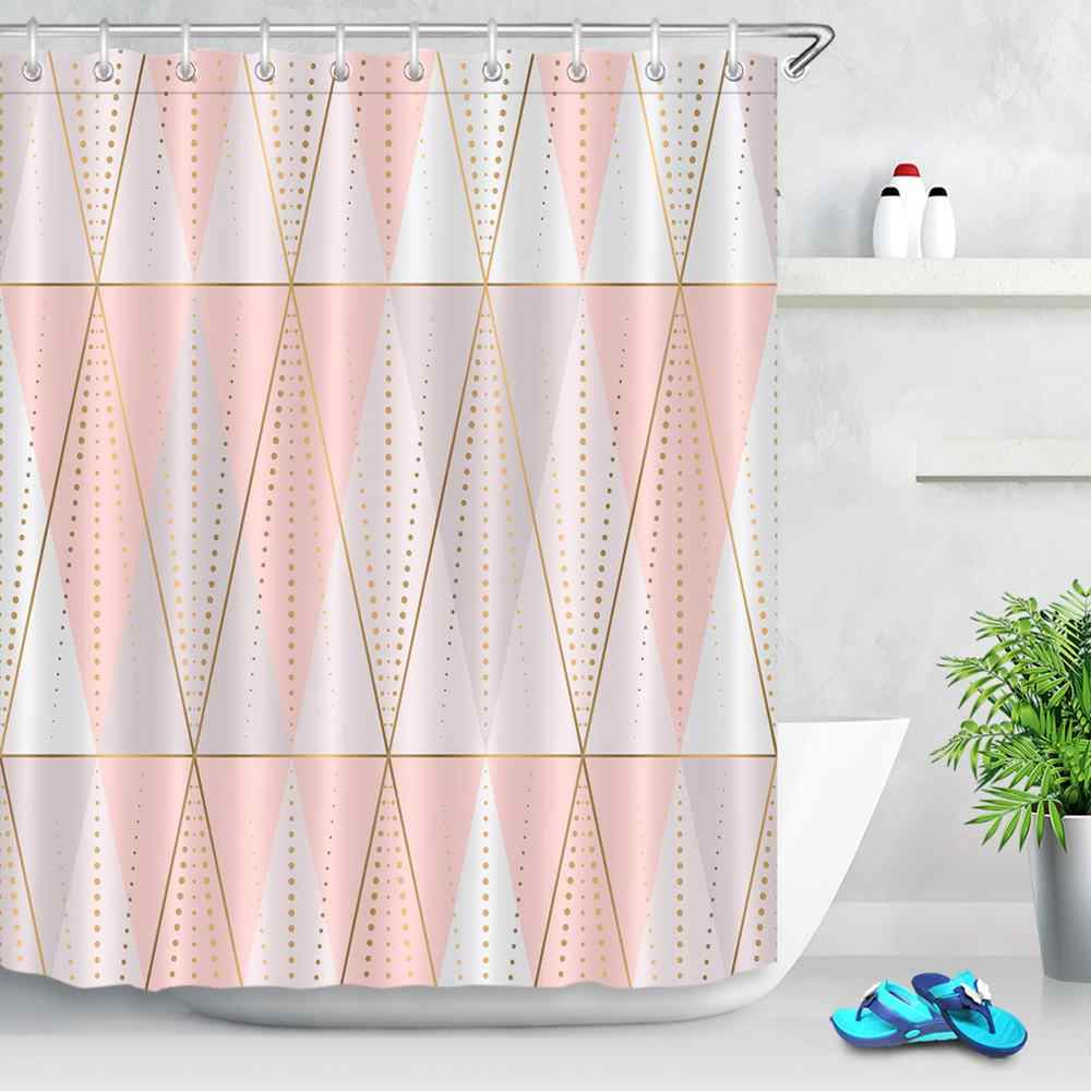 Modern Bathroom Polyester Fabric Shower Curtain Liner Marble Texture Geometer