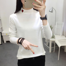 Women Turtleneck Korean Style T Shirt Harajuku Embroidered Red Heart Graphic Tops Long Sleeved female Casual Basic Tshirt C348