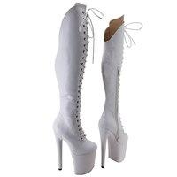Leecabe-zapatos de tacón alto con plataforma para mujer, calzado de baile en barra, color blanco, 20CM/8 pulgadas, Fiesta disco