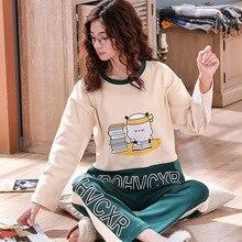 Jimiko Pajamas Set Womens Fall 100% Cotton Long Sleeve 2 Piece Cute Cartoon Print Woman sleepwear Casual Home clothing