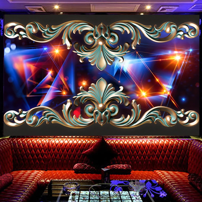Custom Wallpaper 3D Stereoscopic Embossed Color Lines Creative Large Mural Restaurant Coffee Shop KTV Bar Wall Decor Painting