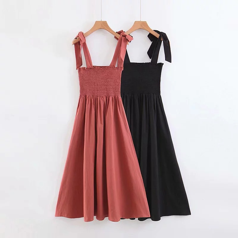 Vacation Style WOMEN'S Dress Summer New Style Pleated Elastic Tying Long Skirts Slim Fit Europe And America Strapped Dress