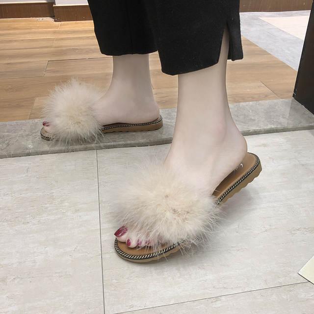 Off whit fur slippers Summer shoes women Fashion Sweet Open toe flat Slides Slip On home Slipper comfortable platform flip flops