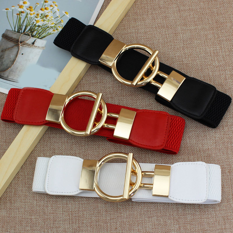Fashion Woman Belt Dress Decorative Simple Waistband Elastic Girdle Gold Buckle Wide Female Belts Solid Color Belts Hot Sale