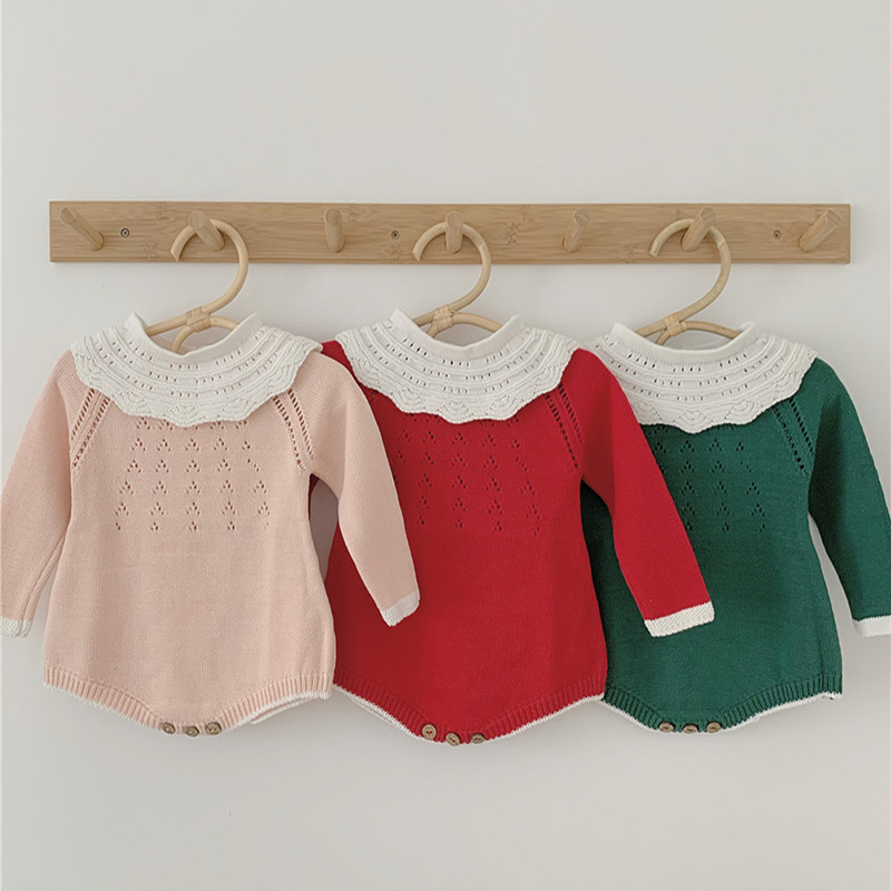 Baby Girl Clothes Fashion Baby Girl Sweaters Bodysuits Solid Color Outfits Newborn Baby Boys Long Sleeve Warm Knitted Jumpsuit