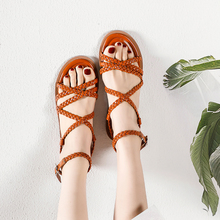 2020 Summer Women Sandals Ladies Gladiator Weave Flat Peep Toe Casual Shoes High Quality Outside Ankle Strop