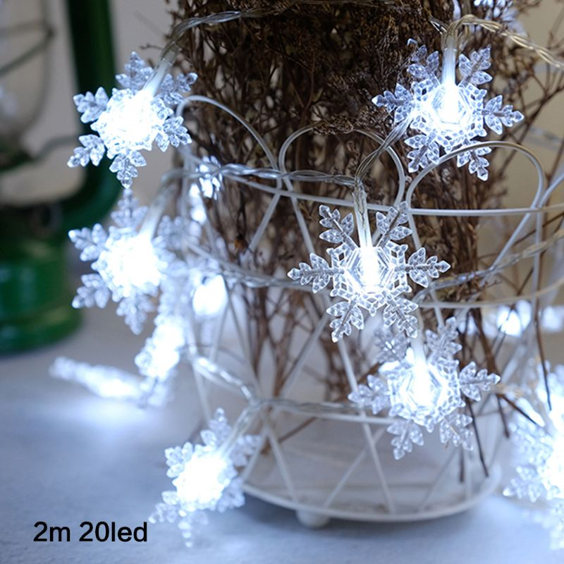 Snowflake 20 LED Cool White Snowflake Patio String Lights For New Year Christmas Commercial Decor Fairy Lighting