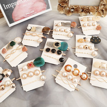 3Pcs/set Korea Vintage Acrylic Resin Beads Hairpins Bobby Pin Barrette Gold Color Hair Clips Sweet girls Accessories