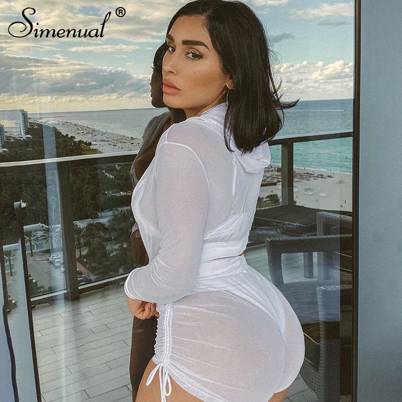 Simenual Transparent Mesh Sporty Co-ord Sets Women Long Sleeve 2020 Summer Workout 2 Piece Outfit Hooded Crop Top And Shorts Set