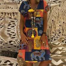 ZANZEA женское летнее хлопковое льняное платье с коротким рукавом Vestido Robe Kaftan Femme Винтаж V образным вырезом цветочный принт праздничный сарафан 5XL