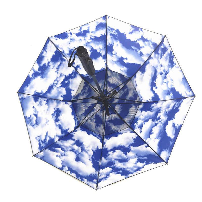 مروحة رذاذ مظلة مقبض طويل الصيف التبريد مظلة مشمس ممطر يوم الغرض المزدوج YA88