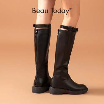 asumer black fashion winter snow boots round toe keep waem knee high boots zip shearling comfortable pu cow leather boots women BeauToday Knee High Long Boots Women Cow Leather Round Toe Back Zip Buckle Platform Autumn Winter Ladies Shoes Handmade 01223