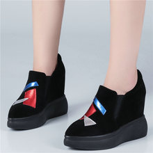 Vulcanized Shoes Women Genuine Leather Wedges Platform Trainers High Heel Oxfords Pointed Toe Walking Loafers Tennis
