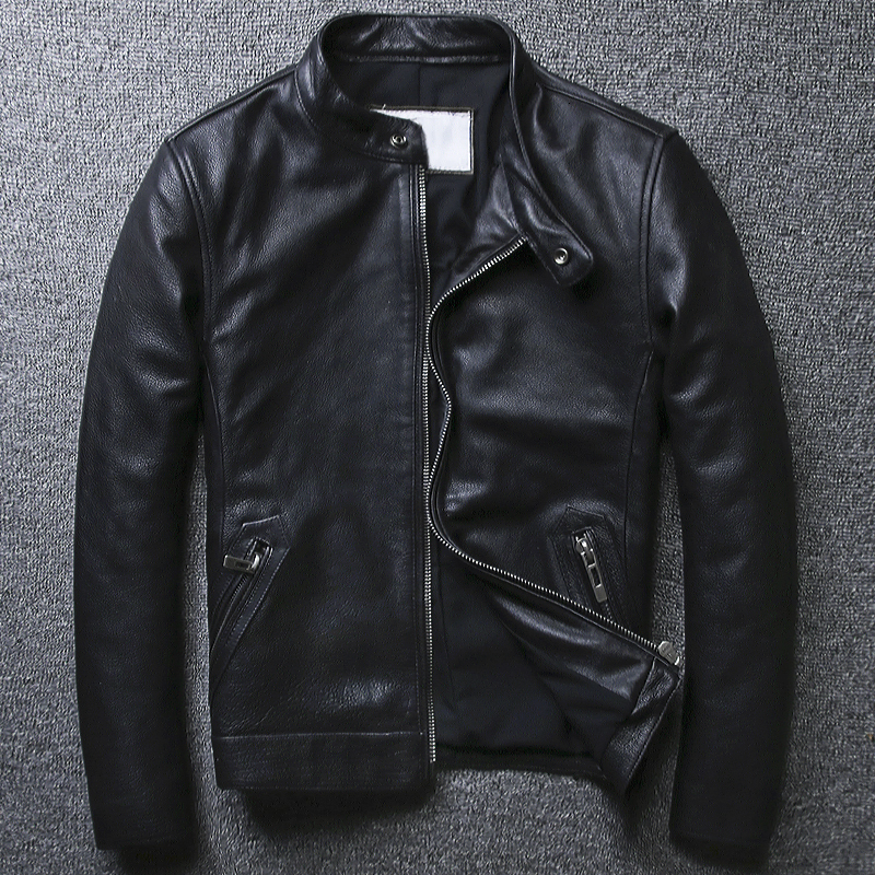 Plus Size 5XL Casual Leather Jacket Men Stand Collar Black 100% Cowhide Jackets Male High Quality Mens Genuine Leather Jacket