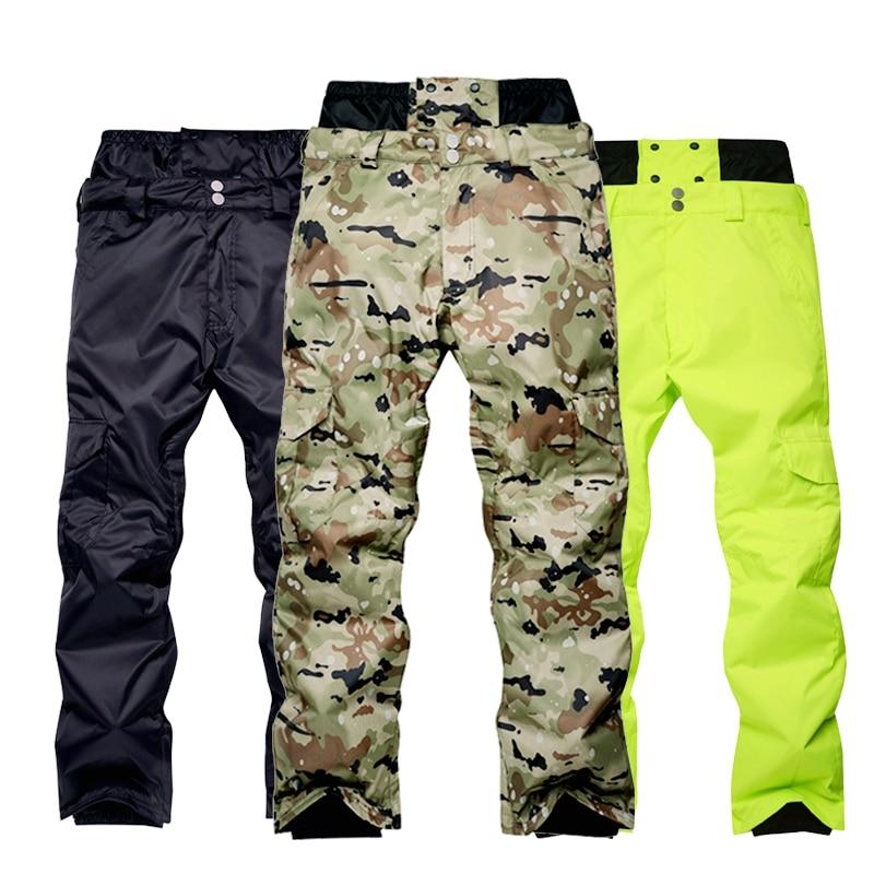 Men 's Snowboard Pants Waterproof Windproof Camouflage Outdoor Snow Pants Men High - Waist Winter  Warm Skiing Trousers