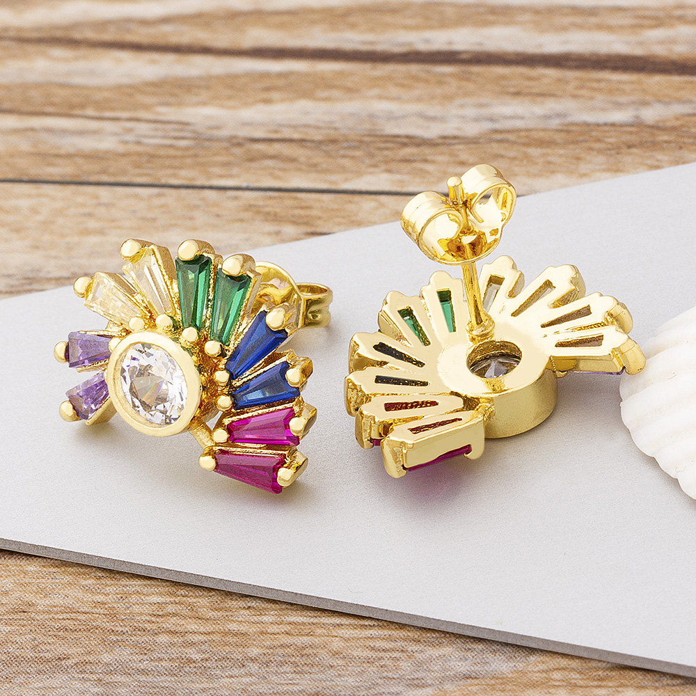 New Trendy Design Copper CZ Earrings for Women Rainbow Shine Zirconia 24K Real Gold Stud Earrings Party Wedding Jewelry Gifts
