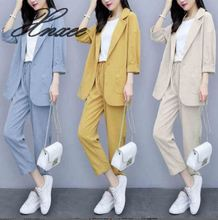Xnxee blazer female autumn thin section 2019 Korean version of loose casual imitation cotton linen suit