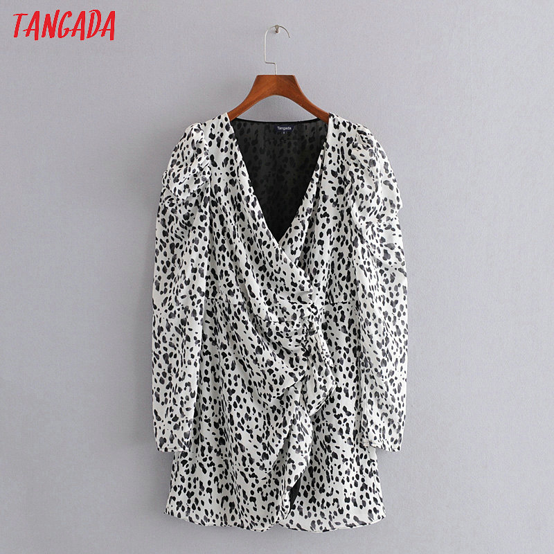 Tangada Fashion Women Leopard Print Mini Dress V Neck Puff Long Sleeve Ladies Ruffles Short Dress Vestidos 3H296