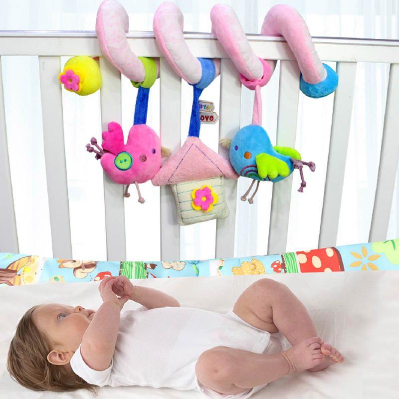 Baby Spiral Stroller Toy, Kids Animals Stuffed Toys Wraps Around Crib Prams Rail Strollers Bar Activity Toy