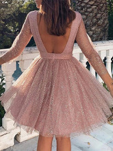 2019 Autumn Women Elegant Casual Mini Party Dress Female Backless A-line Glitter Sequins Sheer Mesh Overlay Pleated