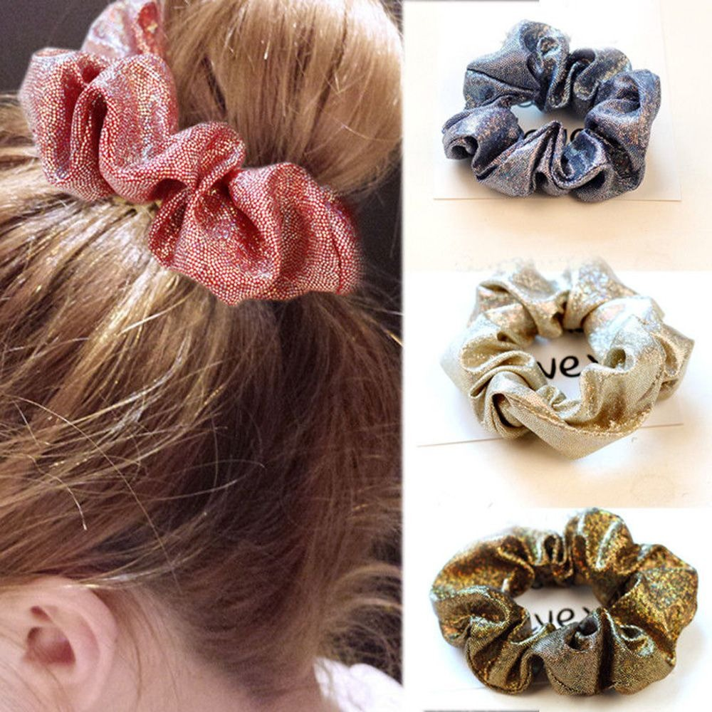 2020 Shiny Solid Color Scrunchies Elastic Hair Bands For Women Girls Hair Accessories Ponytail Holder Hair Ties Rope