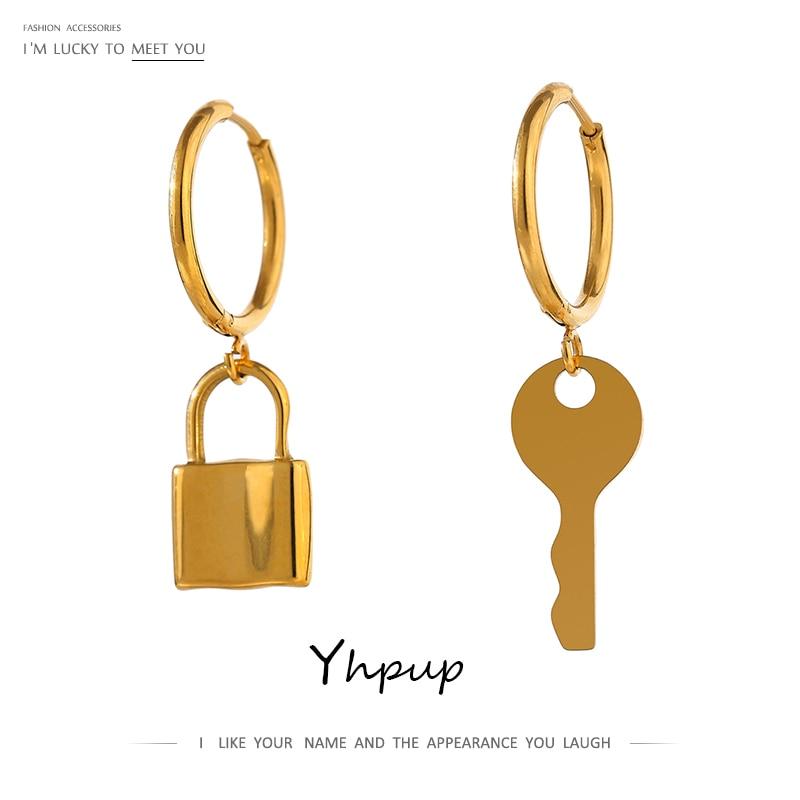 Yhpup Asymmetrical Lock Key Hoop Earrings for Women 18 K Metal Titanium Steel Jewelry Gold Stainless Steel Statement Earrings