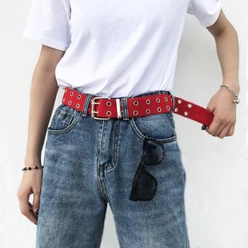 Cinturón de lona para hombres Punk para mujeres doble fila de Metal agujero cintura Correa negro blanco pantalón femenino cinturones Casual cintura ajustable