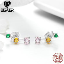 BISAER Authentic 925 Sterling Silver 3 Color AAA CZ Stone Stud Earrings for Women Luxury Valentine Gifts with Gift Box HSE495 bisaer authentic 925 sterling silver gold color mosaic red cz heart pendant necklace for women valentine s gifts jewelry gan014