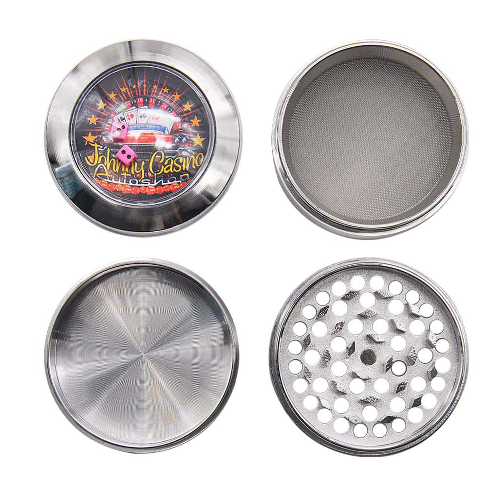 Zinc Alloy Smoking Herb Grinders With Dice Game Window 63MM 4 Piece Metal Tobacco Grinder Pollen Spice Crucher 3