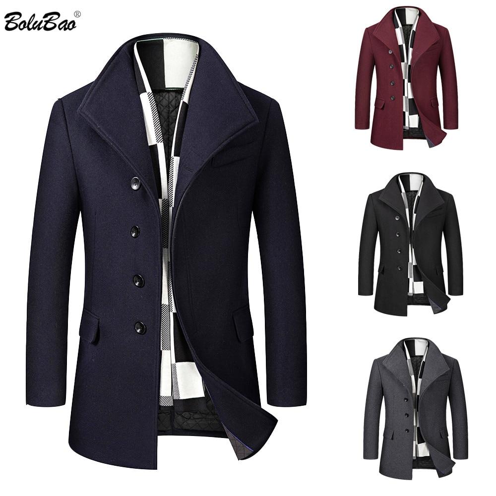 BOLUBAO Wool Blend Coat Men Quality Brand Men's Casual Wild Wool Overcoat Male Trend Solid Color Wool Coat (Send Scarf