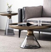 Стеклянный журнальный столик Nordic i с закругленными металлическими краями, в стиле постмодерн, прозрачный угол, несколько комбинаций