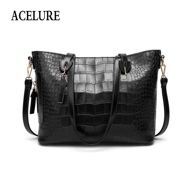 ACELURE Solid Color Lager Alligator Casual Totes Simple Style Women Shoulder Bags Soft Pu Leather Crossbody Bag Ladies Handbags