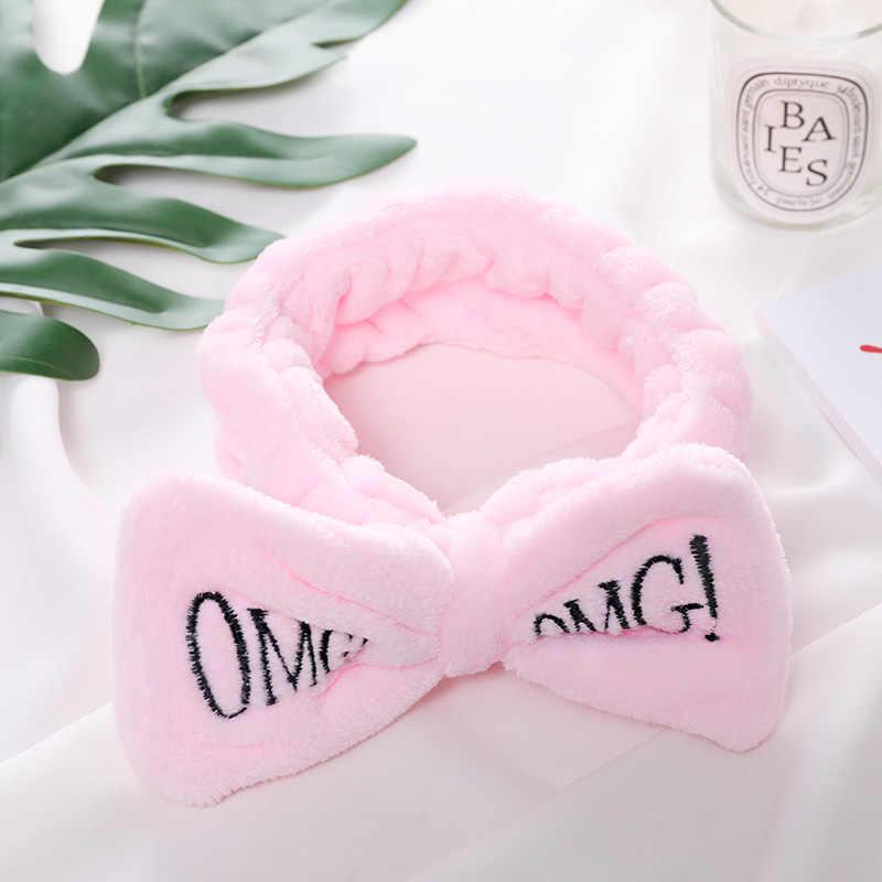 2020 neue OMG Brief Korallen Fleece Waschen Gesicht Stirnbänder Für Frauen Nette Weichen Bogen Mädchen Stirnbänder Haar Bands Turban Haar zubehör