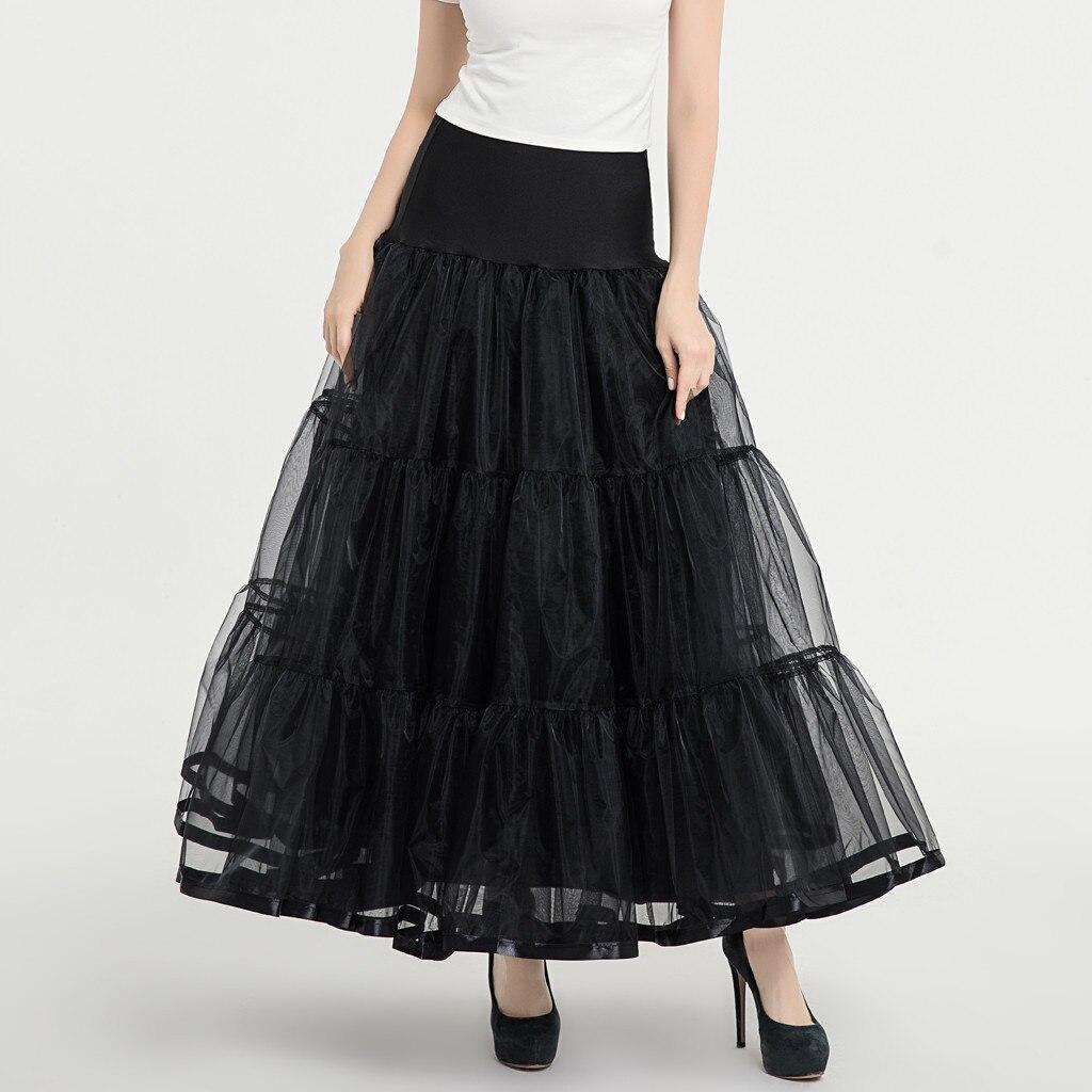 Petticoat 65cm Tutu Tulle Skirt Vintage Midi Pleated Skirts Womens Lolita Bridesmaid Wedding faldas Mujer saias jupe 1.20