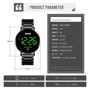 Image 3 - SKMEI relojes digitales deportivos de lujo para hombre, reloj de pulsera de acero inoxidable, pantalla de luz LED, pulsera electrónica