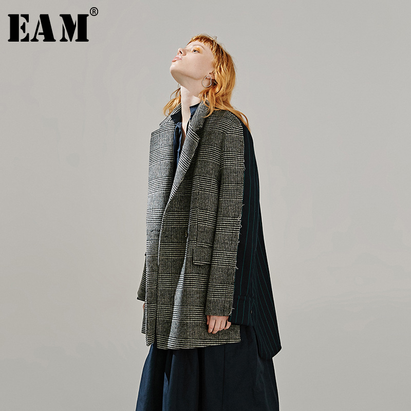 [EAM]  Women Back Plaid Split Big Size Blazer New Lapel Long Sleeve Loose Fit  Jacket Fashion Tide Spring Autumn 2020 1R096