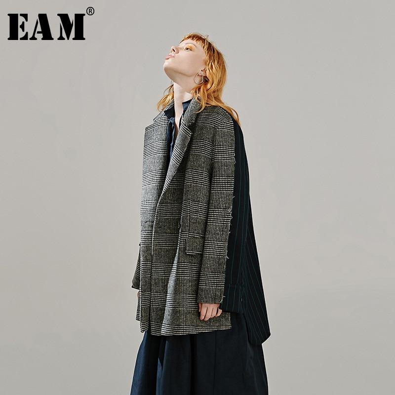 [EAM]  Women Back Plaid Split Big Size Blazer New Lapel Long Sleeve Loose Fit  Jacket Fashion Tide Spring Autumn 2020 1R096