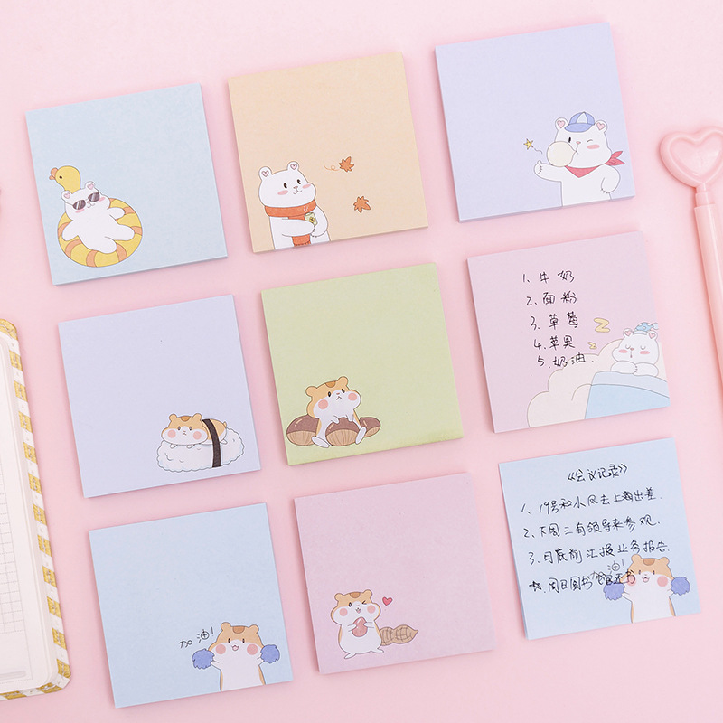Four Seasons White Bear Hamster Memo Pad N Times Sticky Notes Escolar Papelaria School Supply Bookmark Label
