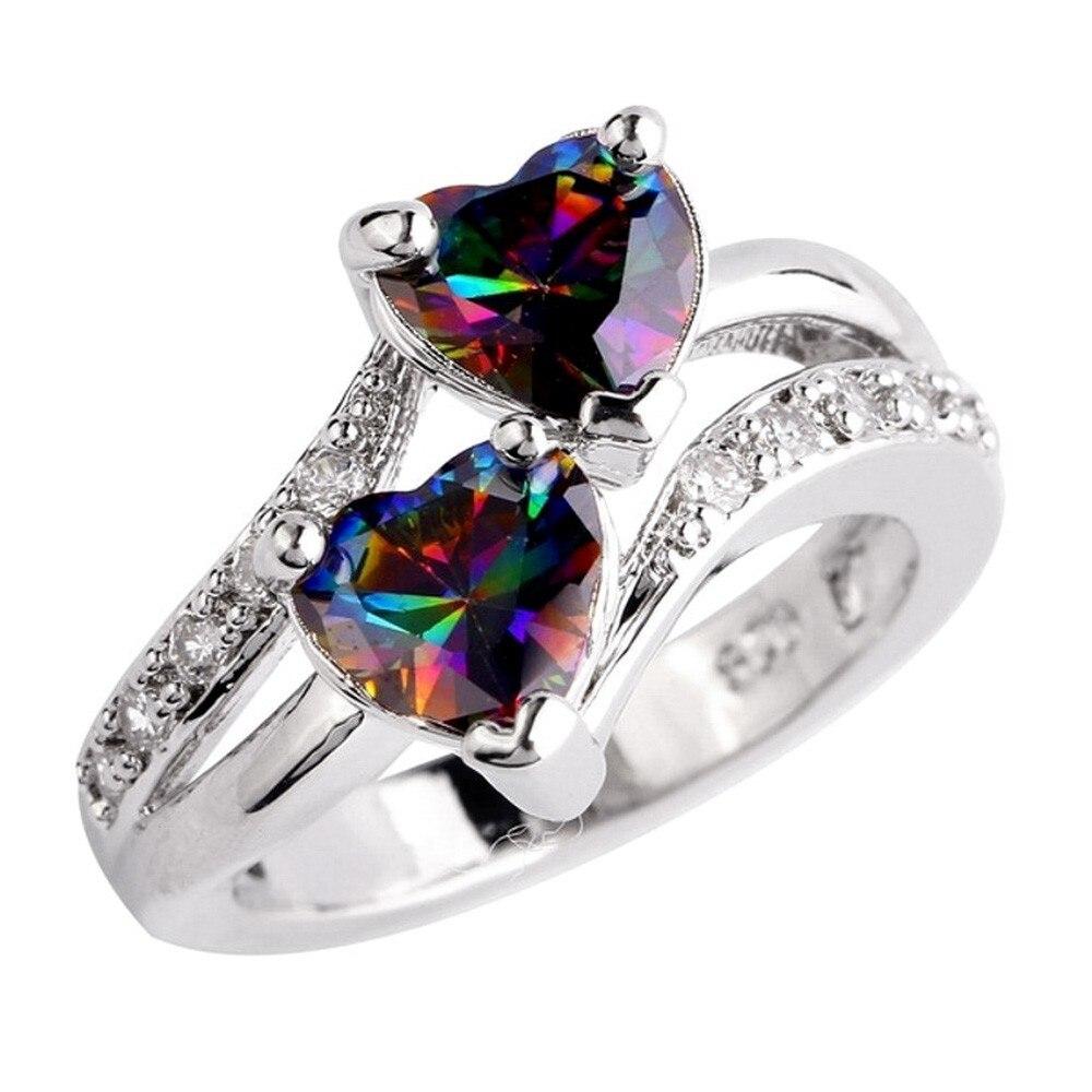 New Wedding Eings popular Fine Fashion Double Heart Rainbow Jewelrys Fings Jewelry Women Accessorie Engagement Eing Gifts кольцо