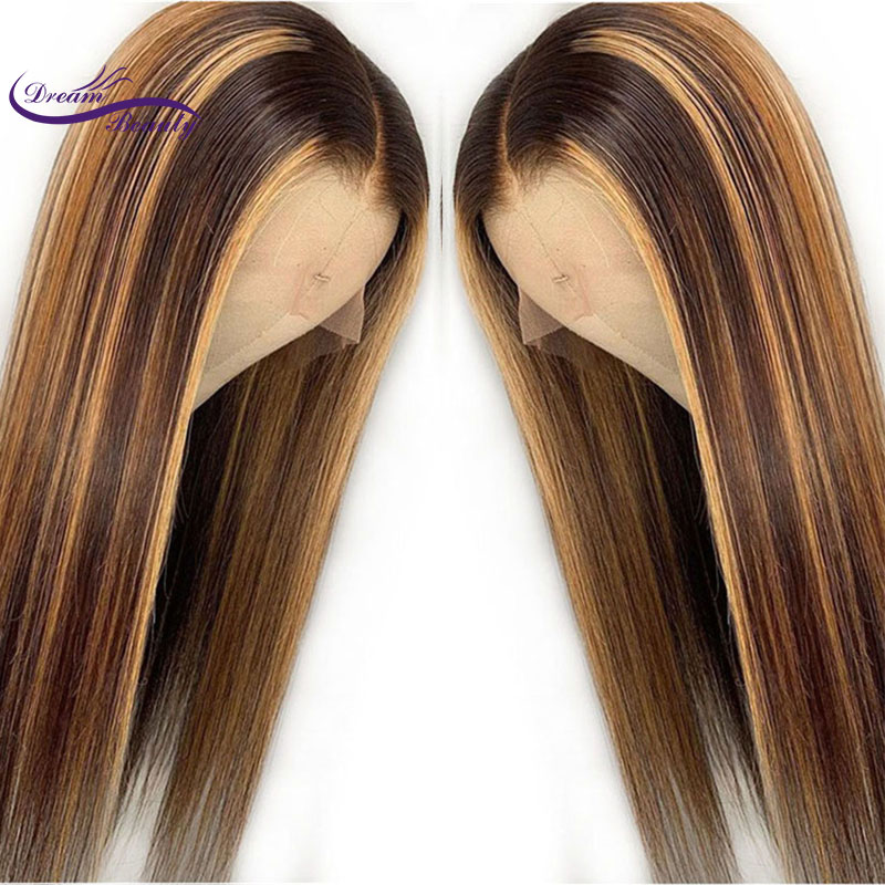 Image 4 - Highlight 13*4 Lace Front Human Hair Wigs With Baby Hair 8 28 Inches Straight Brazilian Remy Hair Bleached Knots Dream Beauty-in Human Hair Lace Wigs from Hair Extensions & Wigs