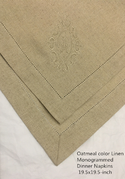 Set Of 12 Fshion Monogrammed Dinner Napkins  Hemstitch Oatmeal Linen Table Napkins 20