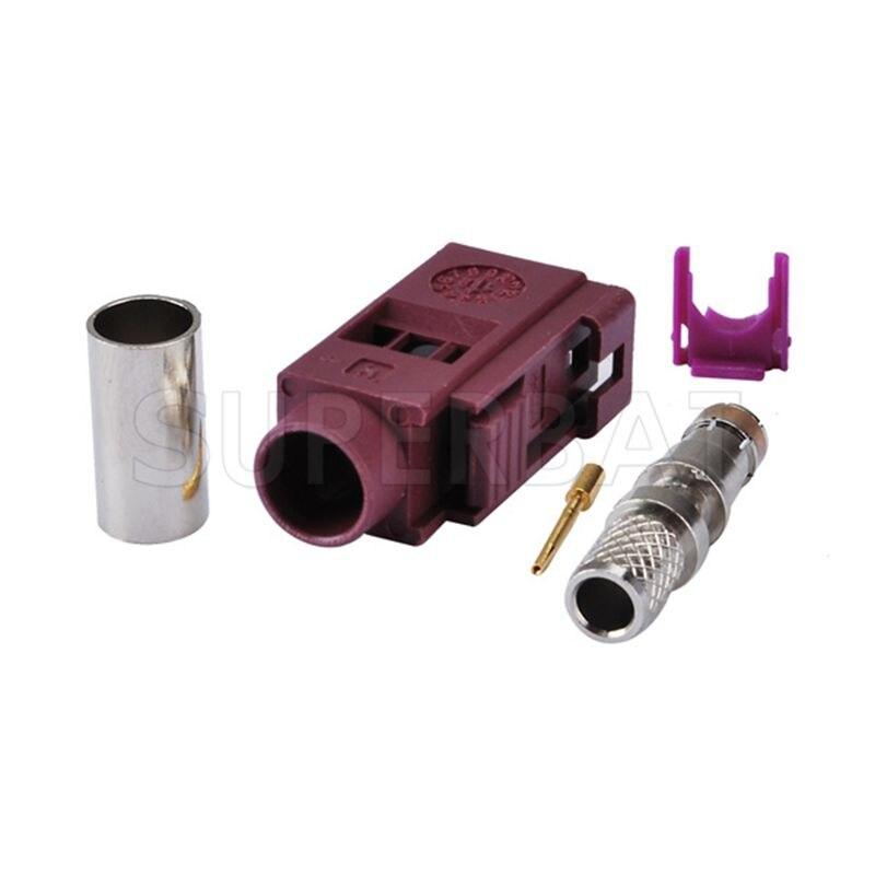 Superbat RF Coaxial Fakra D Violet/4004 Jack Connector For Violet Car GSM Cellular Phone Crimp For Cable RG58 LMR195 Waterproof