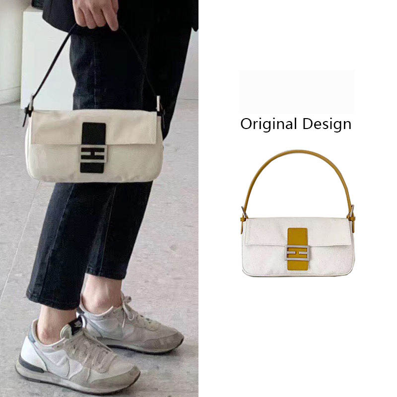 Vintage Baguette Bag For Women 2019 Luxury Canvas Handbag Retro Fashion Small Shoulder Bags Female Clutch Totes Bolsa Feminina