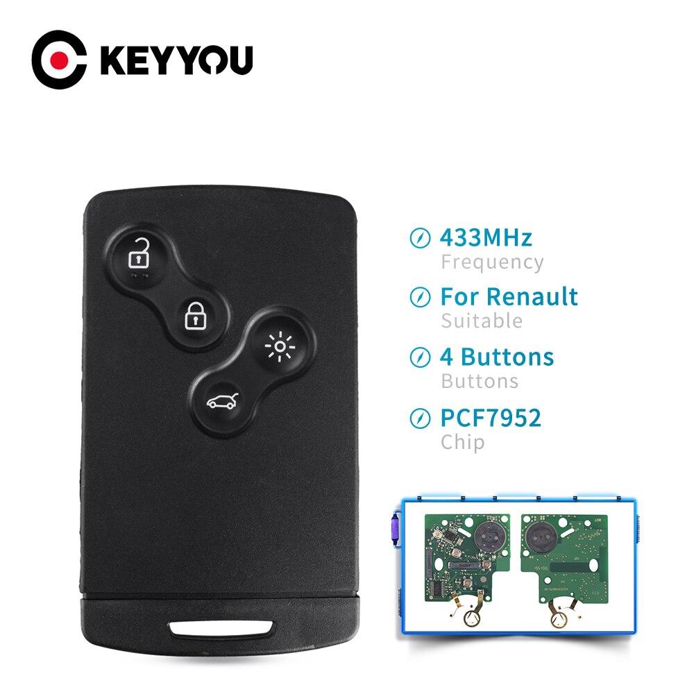KEYYOU 433 МГц PCF7952 чип 4 кнопки автомобильная карта дистанционного ключа для Renault Megane III Laguna III Koleos CLIO Smart Card 2008-2011
