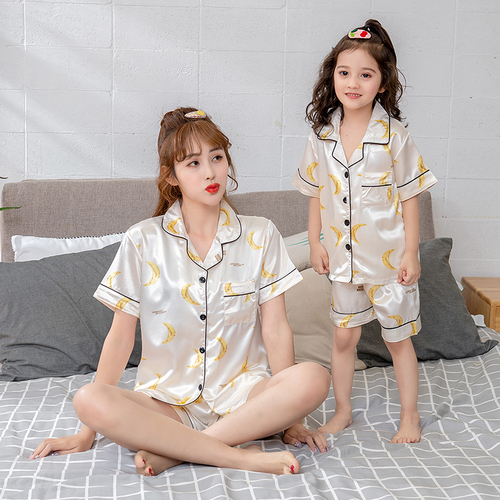 2020 Mother and daughter matching home clothing for Mother Kids Family Matching Outfits Mommy and Daughter Women Pajamas Suit