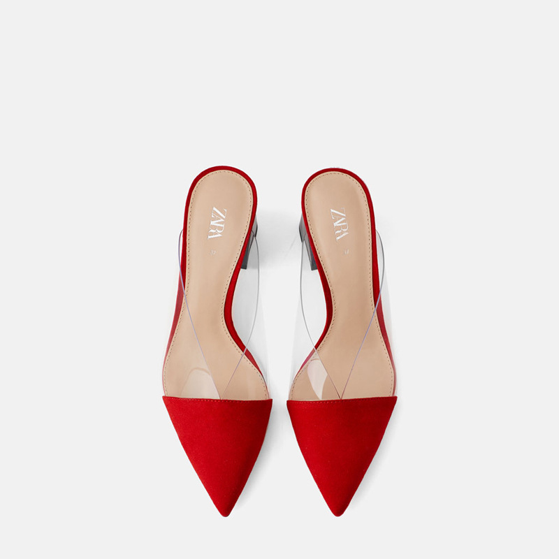 FAMOUS BRAND SAME Design 2020 Summer Womens Mules Red Plastic Red Transparent Pointed Thick Heel Lady Shoes