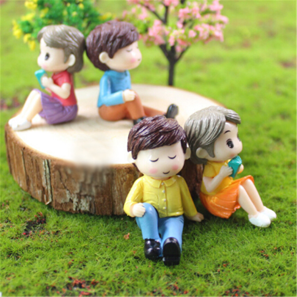 2X Over Figurines Boy Girl Wedding Doll Miniatures Couple Fairy Home Garden Decoration Mariage Toy New DIY Accessories Romantic