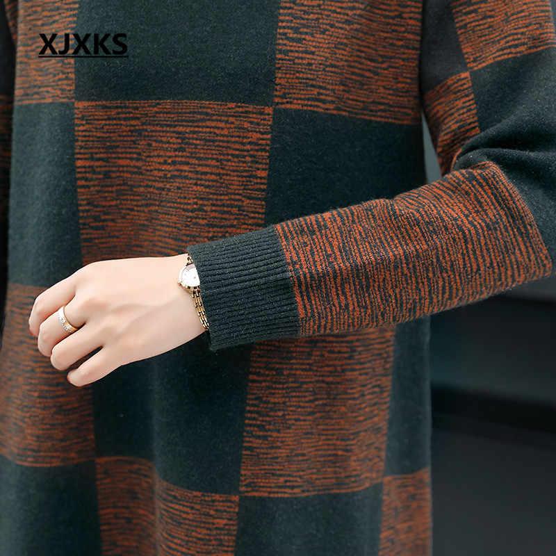 Xjxks 여성 스웨터 니트 드레스 2019 가을 겨울 새로운 편안한 하이 엔드 캐시미어 긴 스웨터 여성 풀오버