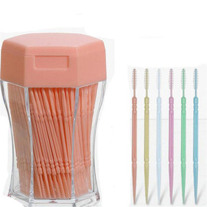 200pcs/set Soft Plastic Double-head Brushed Toothpick Oral Care 6.2 Cm Hot Sale Interdental Brush Toothbrush for Dentures